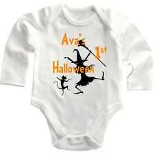 First Halloween Dancing Witch Custom Long Sleeve Baby Bodysuit One Piece