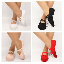 1 Pair Girls Kids Comfortable Canvas Ballet Dance Shoes Flat Slippers 4 Colors