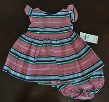 NWT Ralph Lauren Infant Girls SS Pink Striped Party Dress 3m 6m 9m 12m 18m NEW *