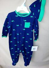 LITTLE ME 100% COTTON Navy FOOTIE w/All Over WHALE Print & Matching Hat NWT