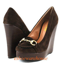 Awesome Urban Tall Moccasin Wedge Pumps Shoes Brown Su