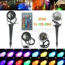 10W RGB LED Spot Light Lamp Remote Control Outdoor Garden Waterproof 12V/85-265V