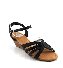 Black Leatherette Minimal Gladiator Caged Trend Low Wedge Sandals Shoes