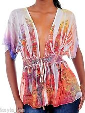 White/Blue/Rust Multi Paisley Tie Front S/Sleeve Chiffon Cover-Up/Shrug S