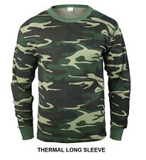 Woodland Camo THERMAL Long Sleeve T-Shirt Army Marine Corps USMC SWAT Hunting