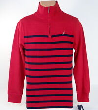 Nautica 1/4 Zip Mock Neck Red & Blue Cotton Sweater Youth Boys NWT