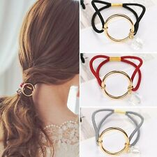 Hot Womens Hair Ring Metal Loop Hair Circle Wrap Elastic Pony Tail Holder Rope