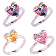 Rainbow & Pink Topaz Morganite Gemstones Silver New Ring Size 5 6 7 8 9 10 11 12