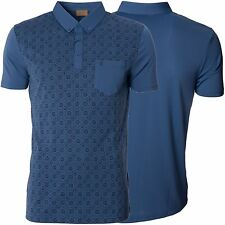 Gabicci Mens Blue Polo Shirt Printed Button Down Collar Short Sleeve Top Size