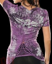 Affliction STOP Womens V-Neck Top L NWT NEW Studded T-Shirt Purple