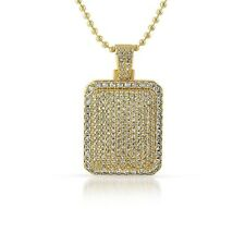 Gold Iced Out Lab Made Cushion Dogtag Pendant Chain