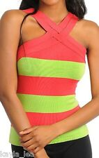 Neon Lime Green/Dark Coral Stripe Double Strap Sweater Knit Tank Top S