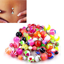 New 30/50Pcs MixColor Stainless Acrylic Ball Barbell Bar Navel Belly Button Ring