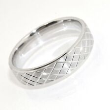 Sz 10 Solid Mens Diamond Cut Wedding Band Ring Anti-Tarnish 925 Sterling Silver