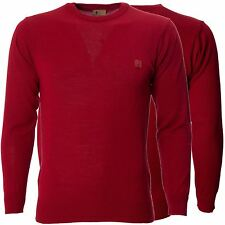 Mens Red Knitted Jumper Long Sleeve Crew Neck Sweater Pullover by Gabicci S-XXL