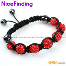 10mm Clay Rhinestone Pave Crystal Disco Ball Bracelet Adjustable Fashion Jewelry