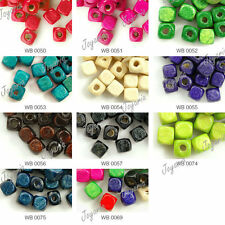 300PCS Wholesale New DIY Dyed Wood Cube Wooden Beads 6x6mm Free Ship 11 Color