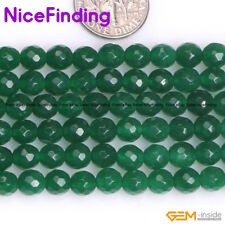 Wholesale Lot Faceted Green Jade Gemstone Round Beads For Jewelry Making 15''DIY