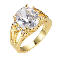 Jewelry White Sapphire Band Womens 10KT Yellow Gold Filled  Wedding Ring Sz 6-10