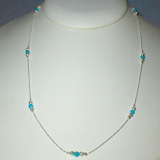 3 pcs Sterling Silver 925 Chain, Green Turquoise & Laser Cut Bead NECKLACES Lot