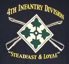 """US Army 4th Infantry Division T-Shirt """" Steadfast & Loyal """" Iron Horse Fourth ID"""