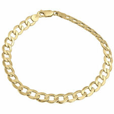 Mens or Ladies 10k Yellow Gold Flat Cuban Curb 6.50 mm Link Bracelet 8-10 Inches