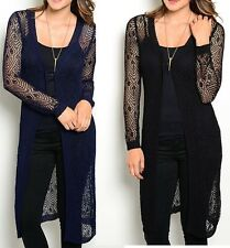 Crochet Mesh Net Lacey Long Sleeve Tunic Cardigan/Cover-Up S M L Black or Blue