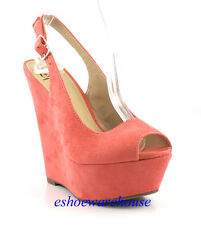 Salmon Faux Suede Awesome Tall Sling Back Sexy Open Toe Wedge Sandals