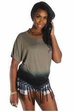 DEALZONE Two Tone Bottom Fringe Top S M L Small Medium Large Women Green