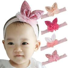 Baby Girl Bow Head Accessories Kids Hair band Elastic Lace Rabbit ears Headwear