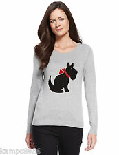 New M&S Collection Silver Grey Black Scottie Dog Print Jumper  Sz UK 20