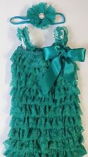 Vintage Girl Posh Petti Ruffle Romper overlapping ruffled girl outfit headband..
