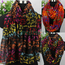 Womens Colorful Animal Leopard Print Long Scarf/Infinity Scarf Soft Ladies Scarf
