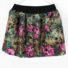 Fashion Cute Girls Multicolor Graffiti Floral Printed  Pleated Short Mini Skirts