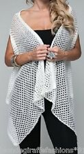 Ivory Open Crochet Lace-Up Back Sweater Shrug/Cardigan Cover-Up Vest