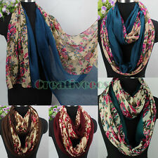 Women Vintage Floral Print Stitching Long/Infinity Scarf Soft Ladies Scarves New