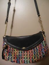 Juicy Couture Shoulder Bag REAL  DEAL Leather & Straw Yellow black NEW w/o/tags