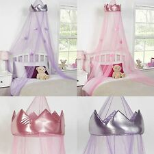 KIDS CHILDRENS GIRLS PRINCESS CROWN BED CANOPY INSECT MOSQUITO NET PINK PURPLE