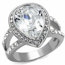 5.75 Ct Halo Pear Shape Stainless Steel AAA Cubic Zirconia Engagement Ring Band