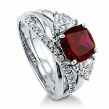 Sterling Silver Cushion Simulated Ruby Cubic Zirconia CZ 3 Stone Engagement Rin