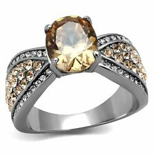3.3 CT OVAL CUT CHAMPAGNE CZ STAINLESS STEEL ENGAGEMENT RING WOMEN'S