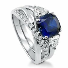 Sterling Silver Cushion Simulated Blue Sapphire Cubic Zirconia CZ 3 Stone Ring