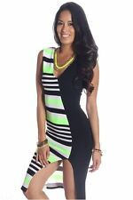 121AVENUE Lovely Two Tone Dress M Medium Women Green Versatile Knee-Length