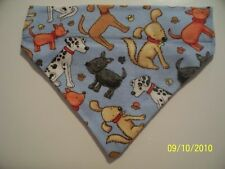 Over Collar REVERSIBLE Bandana~Dog Paw Print Mutt Print