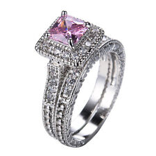 Princess Pink Zircon Band Women's 10Kt White Gold Filled Wedding Ring Size 6-10