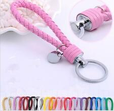 Braided PU Leather Strap Keyring Keychain Car Key Chain Ring Key Fob Funny