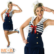 Sexy Navy Sailor + Hat Ladies Fancy Dress Military Uniform Womens Costume Outfit