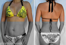 Sinful by Affliction NEON LOVE Women's Swimwear Bikini Top Yellow - TOP ONLY