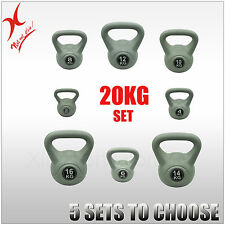 20KG SILVER KETTLEBELL WEIGHT SET - HOME GYM TRAINING KETTLE BELL EXERCISE