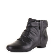 Womens Ladies Clarks Matron Ella Black Leather Comfort Ankle Boots Shoes Size